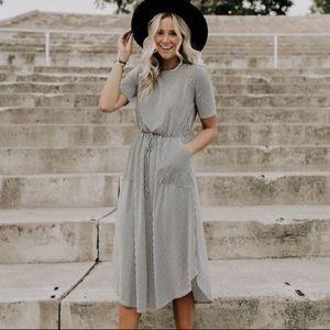 Roolee Black and White Striped Midi Dress